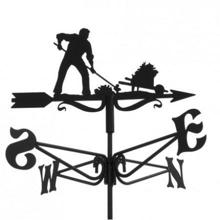 Windwijzer tuinman met kruiwagen